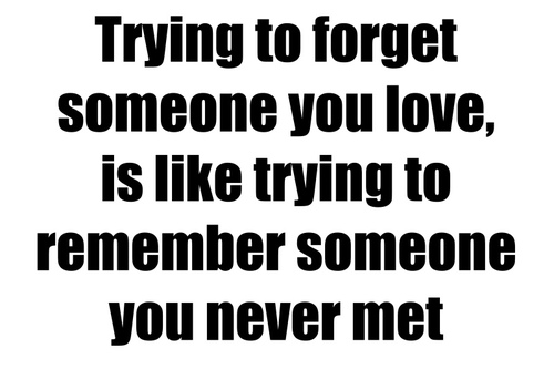 Trying To Forget Someone You Love, Is Like Trying To