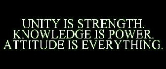 unity is strength knowledge is power attitude is