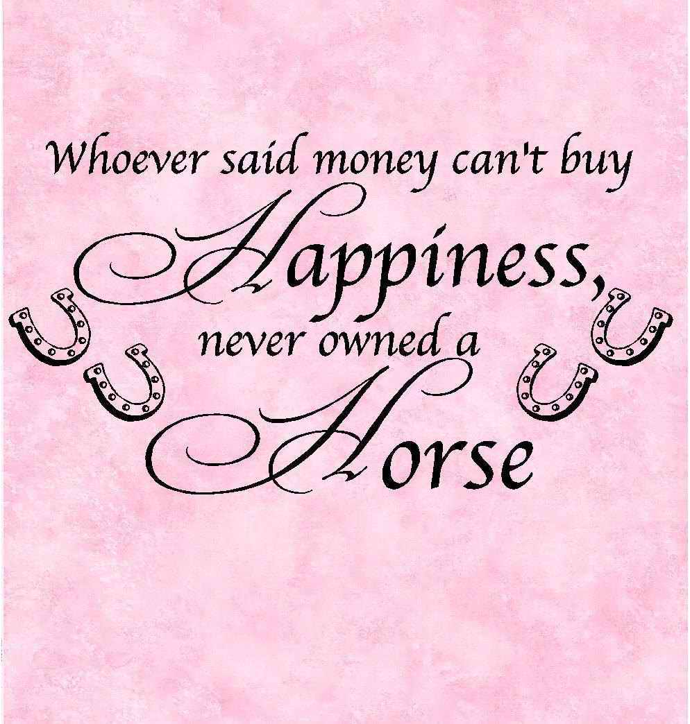 """ Whoever Said Money Can't Buy Happiness Never Owned A Horse """