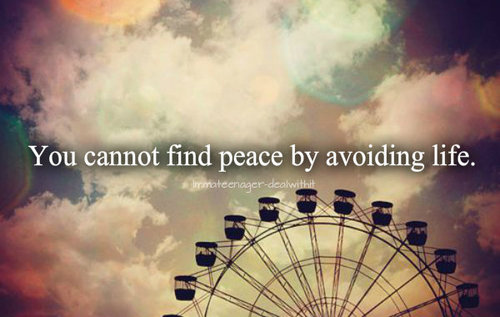 """ You Cannot Find Peace By Avoiding Life """