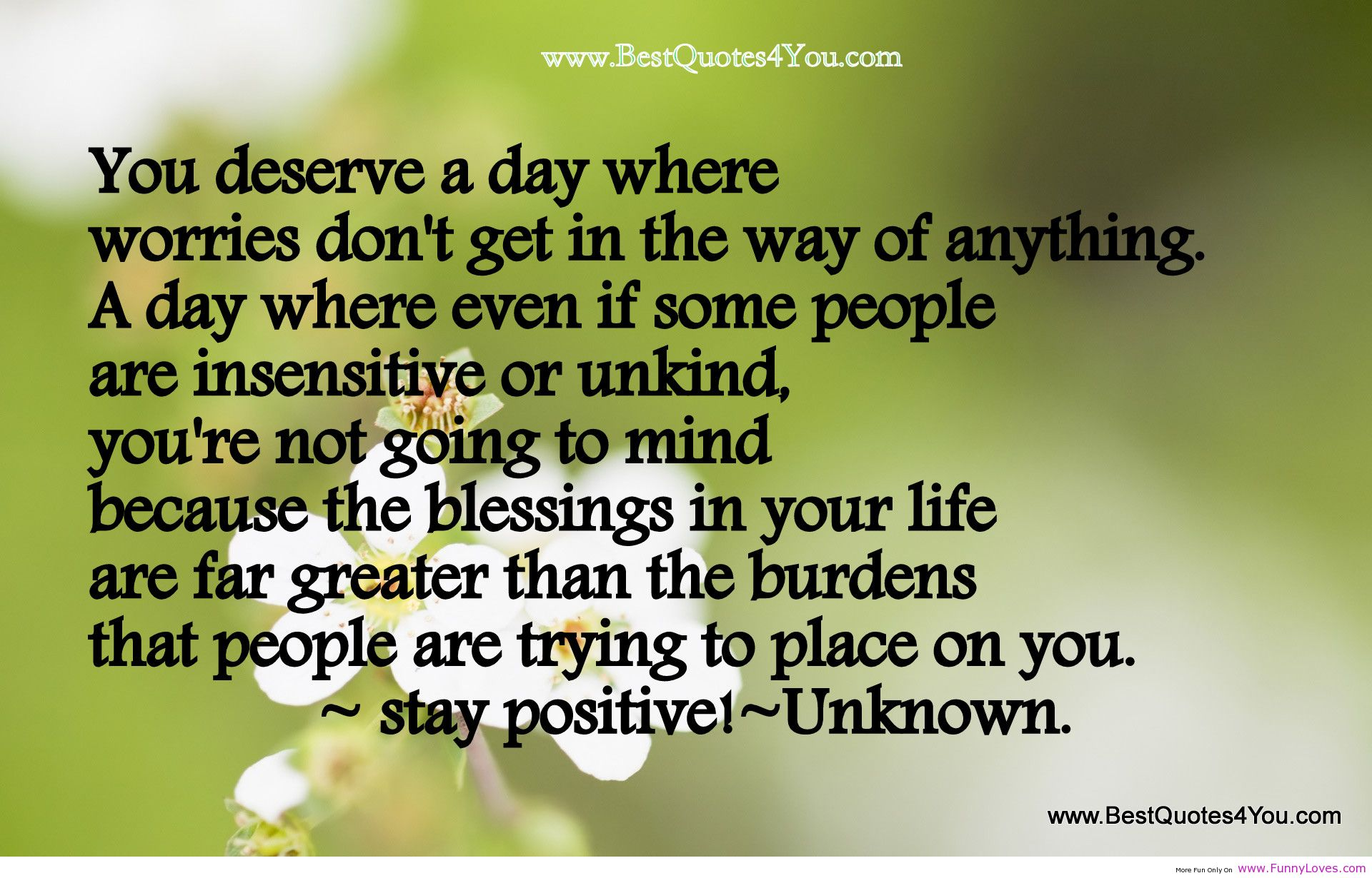 """ You Deserve A Day Where Worries Don't Get In The Way Of Anything. A Day Where Even If Some People Are Insensitive Or Unkind, You're Not….   ~ Spring Quote"