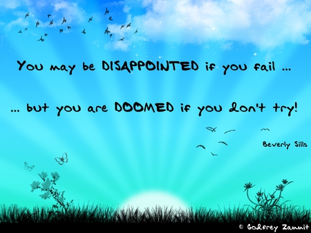 """ You May Be Disappointed If You Fail, But You Are Doomed If You Don't Try "" - Beverly Sills  ~ Success Quote"