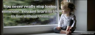 """ You Never Really Stop Loving Someone. You Just Learn To Try To Live Without Them ""  ~ Sad Quote"
