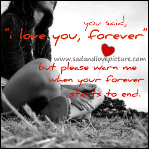 """ You Said, I Love You, Forever But Please Warn Me When Your Forever Starts To End ""  ~ Sad Quote"
