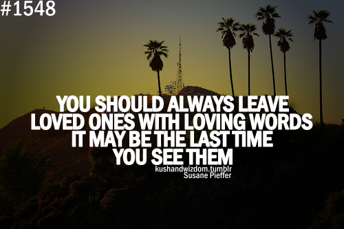 """ You Should Always Leave Loved Ones With Loving Words It May Be Last Time You See Them ""   ~ Sympathy Quote"