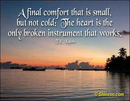 A Final Comfort That Is Small, But Not Cold, The Heart Is The Only Broken Instrument That Works