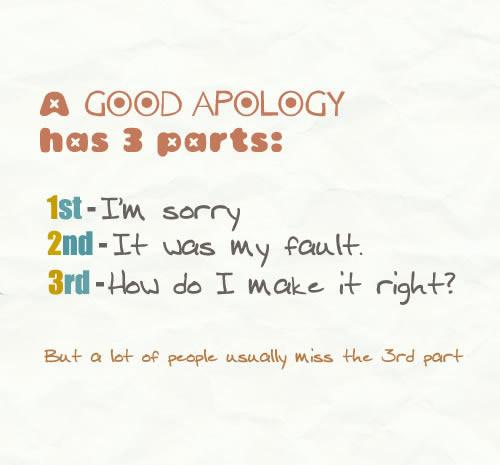 A Good Apology Has 3 Parts, 1st I'm Sorry, 2nd It Was My Fault, 3rd How Do I Make It Right! ~ Apology Quote