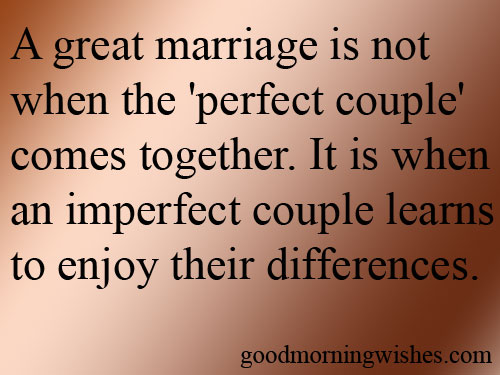 A Great Marriage Is Not When The 'Perfect Couple' Comes Together. It Is When An Imperfect Couple Learns To Enjpy Their Differences