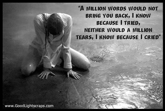 """""""A Million Words Would Not Bring You Back, I Know Because I Tried, Neither Would a Million Tears, I Know Because I Cried"""""""
