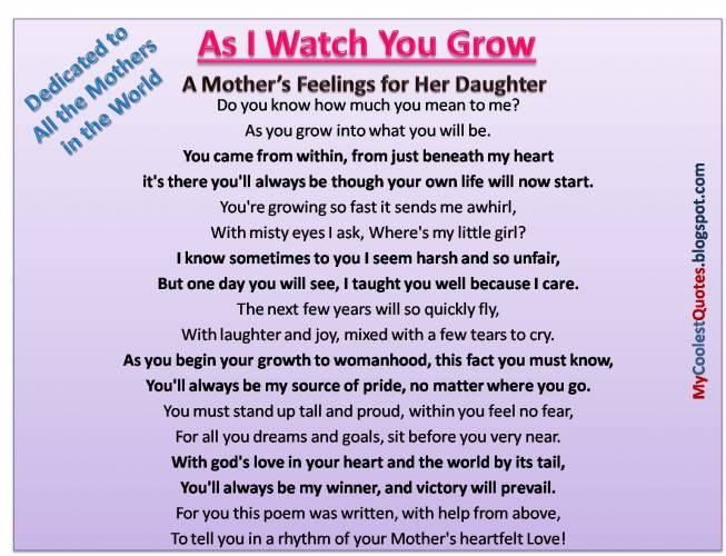 A Mother's Feelings For Her Daughter