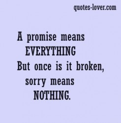 A Promise Means Everything But Once Is It Broken, Sorry Means Nothing ~ Apology Quote