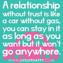 A Relationship Without Trust Is Like A Car Without Gas, You Can Stay In It As Long As You Want But It Won't Go Anywhere