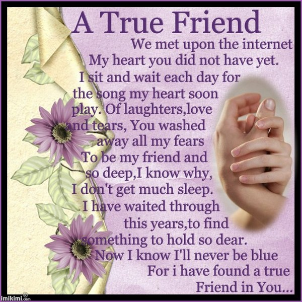 A True Friend We Met Upon The Internet My Heart You Did