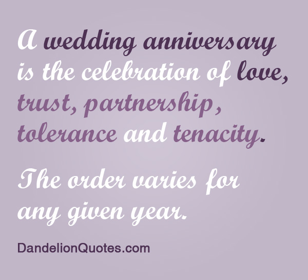 A Wedding Anniversary Is The Celebration Of Love, Trust, Partnership, Tolerance And Tenacity. The Order Varies For Any Given Year
