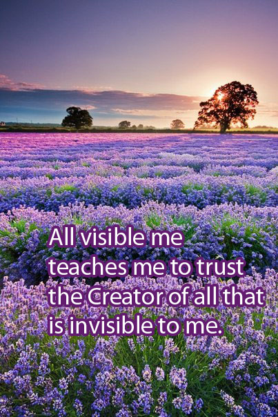 All Visible Me Teaches Me To Trust The Creator Of All That Is Invisible To Me