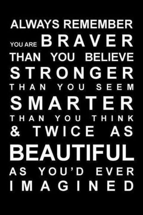 Always Remember You Are Braver Than You Believe Stronger Than You Seen Smarter Than You Think & Twice As Beautiful As You'd Ever Imagined