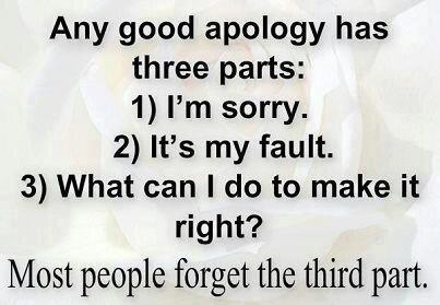 Any Good Apology Has Three Parts, I'm Sorry. It's My Fault. What Can I Do To Make It Right! Most People Forget The Third Part ~ Apology Quote