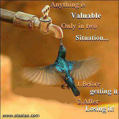 Anything Is Valuable Only In Two Situation. 1 Before Getting It. 2 After Losing It