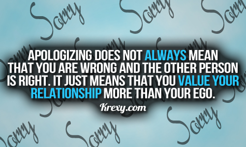 Apologizing Not Always Mean That You Are Wrong And The Other Person Is Right. It Just Means That You Value Your Relationship More Then Your Ego ~ Apology Quote