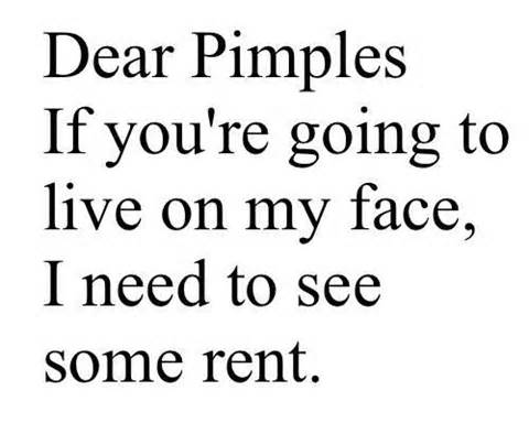 Dear Pimples If You're Going To Live On My Face, I Need To See Some Rent