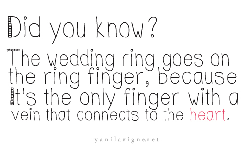 Did You Know! The Wedding Ring Goes On The Ring Finger, Because It's The Only Finger With A Vein That Connects To The Heart