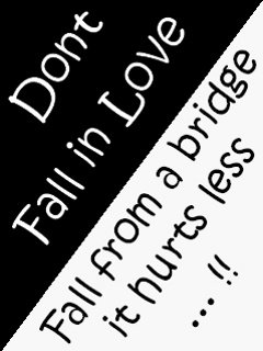 Don't Fall In Love Fall From a Bridge It Hurts Less!!