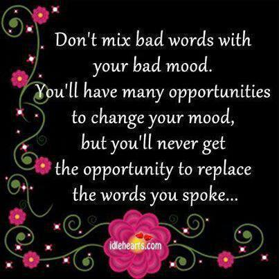 Don't Mix Bad Words With Your Bad Mood. You'll Have Many Opportunities To Change Your Mood, But You'll Never Get The Opportunity To Replace The Words You Spoke