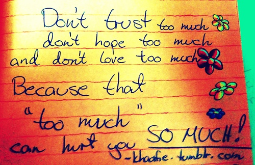 """Don't Trust Too Much Don't Hope Too Much And Don't Love Too Much Because That """"Too Much"""" Can't Hurt You So Much! ~ Apology Quote"""