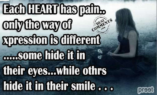 Each Heart Has Pain, Only The Way of Xpression Is Different, Some Hide It In Their Eyes, While Others Hide It In Their Smile ~ Apology Quote