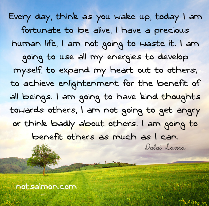 Every Day, Think As You Wake Up, Today I Am Fortunate To Be Alive
