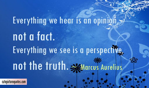 Everything We Hear Is An Opinion Not A Fact. Everything We See Is A Perspective, Not The Truth