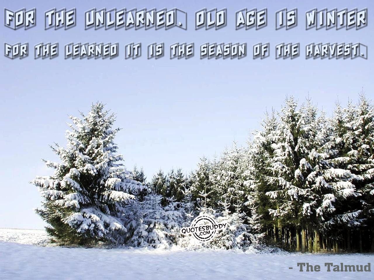 For The Unlearned. Old Age Is  Winter For The Learned It Is The Season Of The Harvest