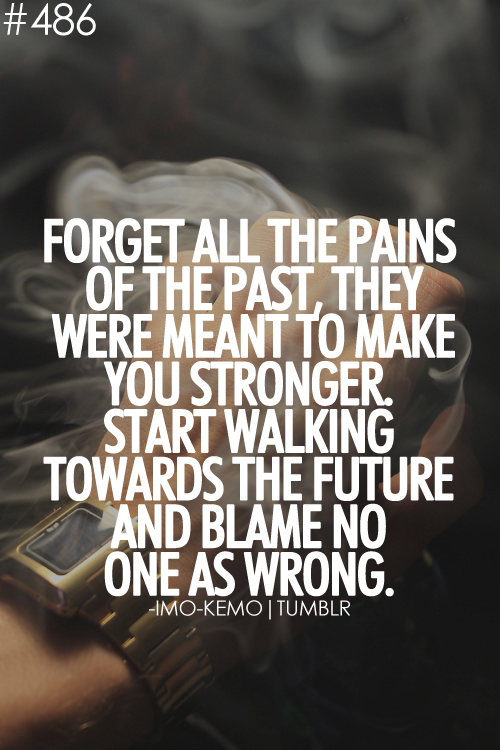Forget All The Pains Of The Past, They Were Meant To Make You Stronger. Start Walking Towards The Future And Blame No One As Wrong