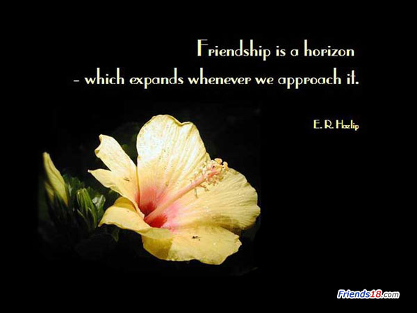 Friendship Is a Horizon Which Expands Whenever We Approach It