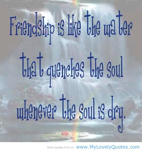 Friendship Is Like The Water That Quenches The Soul Whenever The Soul Is Dry