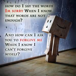 How Do I Say The Words Im Sorry When I Know That Words Are Not Enough! And How Can I Ask You To Forgive Me When I Know I Can't Forgive Myself! ~ Apology Quote