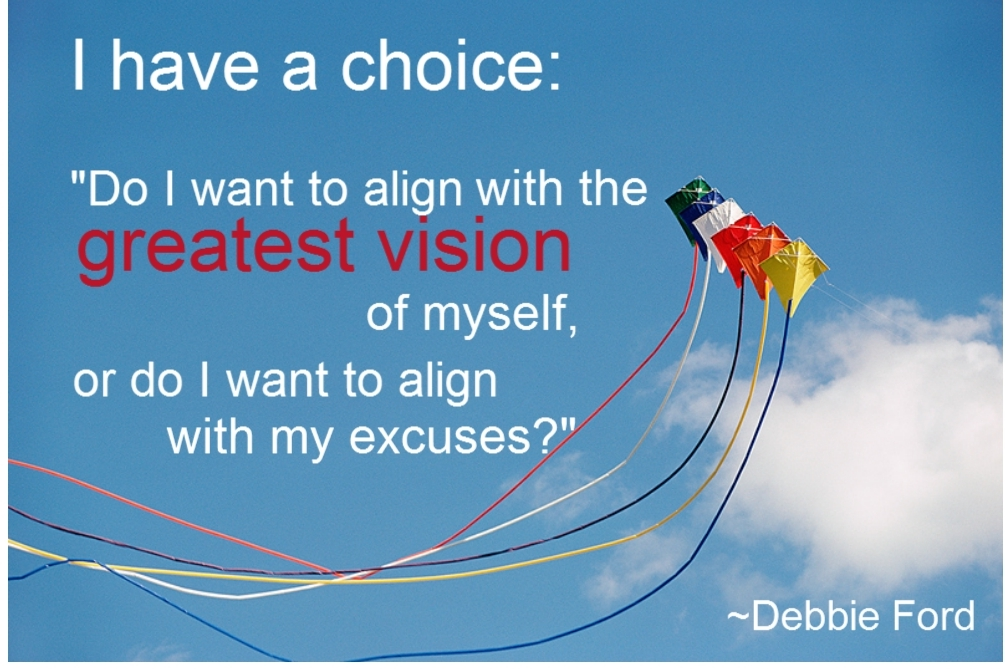 "I Have a Choice, ""Do I Want To Align With The Greatest Vision of Myself, Or Do I Want To Align With My Excuses! ~ Apology Quote"