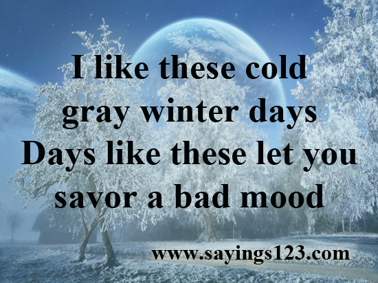 I Like These Cold Gray Winter Let You Savor A Bad Mood