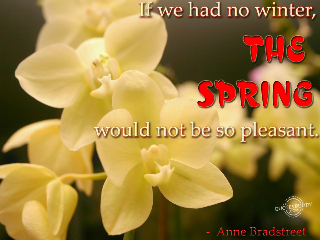 If We Had No Winter, The Spring Would Not Be So Pleasant