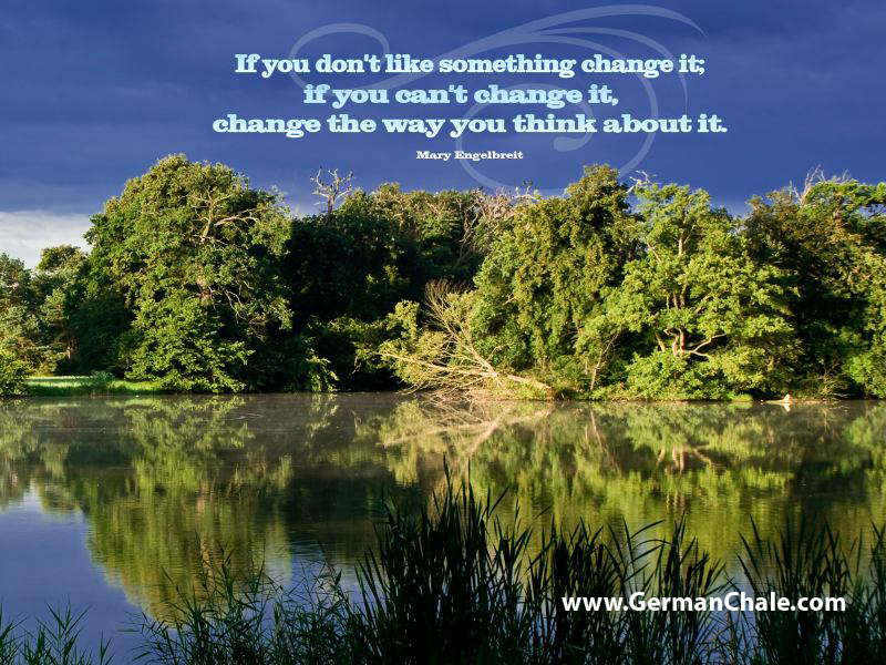 If You Don't Like Something Change It, If You Can't Change It, Change The Way You Think About It