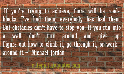 If You're Trying To Achieve, There Will Be Road Blocks. I've Had Them, Everybody Has Had Them
