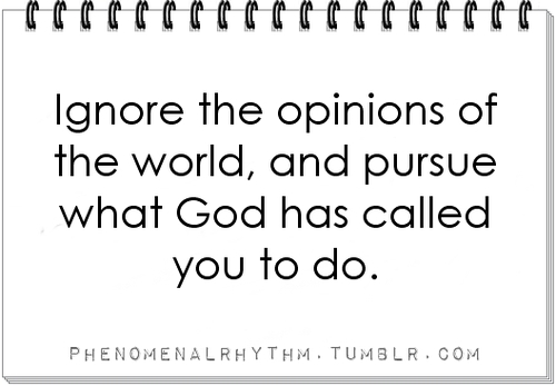 Ignore The Opinions Of The World, And Pursue What God Has Called You To Do ~ Apology Quote