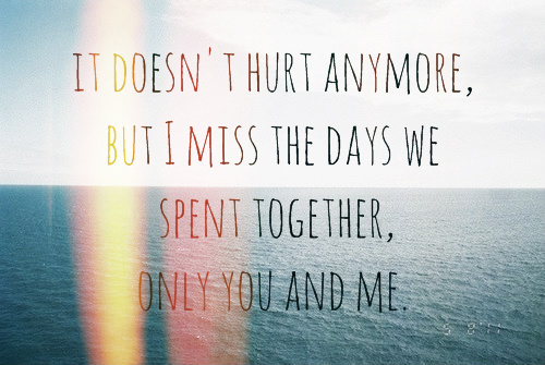 It Doesn't Hurt Anymore, But I Miss The Days We Spent Together, Only You And Me
