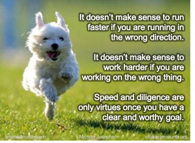 It Doesn't Make Sense To Run Faster If You Are Running In The Wrong Direction