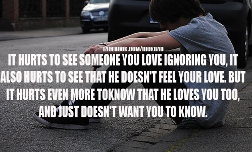 It Hurts To See Someone You Love Ignoring You, It Also Hurts To See That He Doesn't Feel Your Love. But It Hurts Even More Toknow That He Loves You Tod, And Just Doesn't Want You To Know