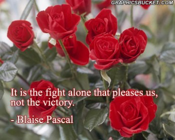 It Is The Fight Alone That Pleases Us, Not The Victory