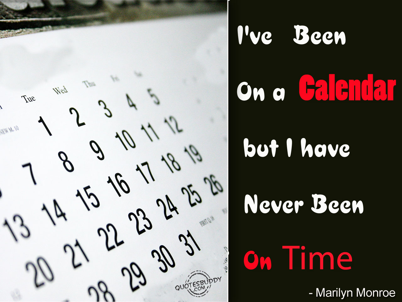 I've Been On A Calendar But I Have Never Been On Time