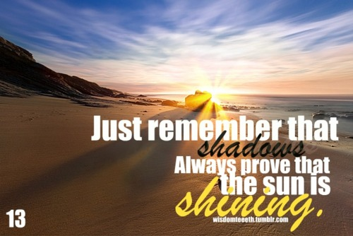 Just Remember That Shadows Always Prove That The Sun Is Shining