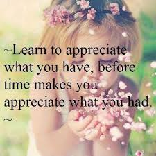 Learn To Appreciate What You Have, Before Time Makes You Appreciate What You Had