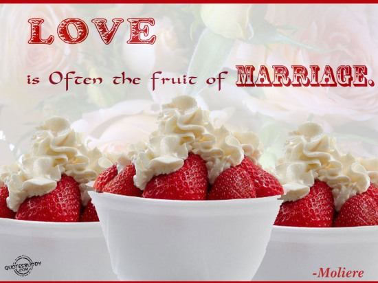Love is often the fruit of marriage